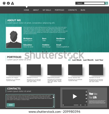 Modern flat website template for personal portfolio, design Eps 10  - stock vector