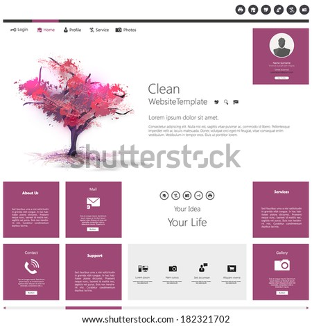 Modern Flat Website template with beautiful flowering purple tree painting. - stock vector