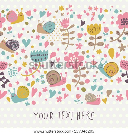 Modern Floral Design With Cute Snails In Stylish Colors. Seamless Pattern  Can Be Used For