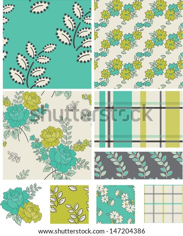Modern Floral Quilt Vector Patterns.  All are seamless so they are great to use as swatches and fills. - stock vector