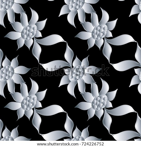 Modern floral seamless pattern abstract black flourish background floral fabric design 3d flowers