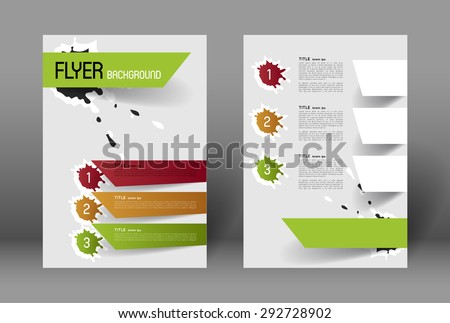 modern flyer design template with option banners and paint splatters - stock vector