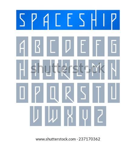 Modern font with monospaced typeface, alphabet. Vector. - stock vector