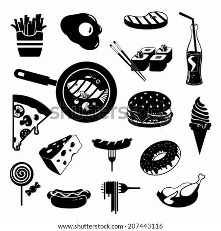 Modern food vector icon set - stock vector
