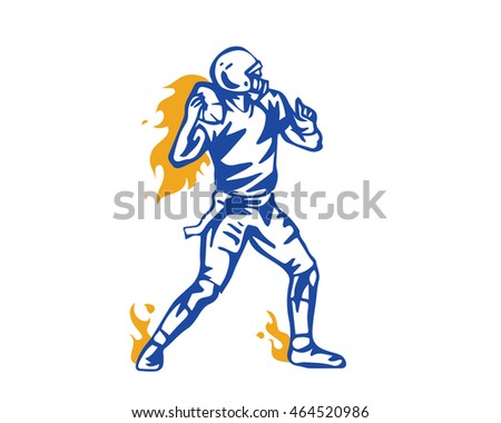 Modern Football Player In Action Logo - Flaming Throw Assist