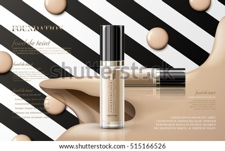 Modern foundation ads, glass bottle with foundation isolated on black and white striped background, 3d illustration