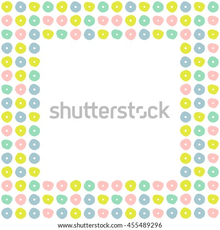 Modern frame with colorful abstract flowers. Stylized decorative design template. Vector illustration. - stock vector
