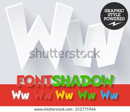 Modern funny flat alphabet with long ambient shadow. Optional colors. Letter W - stock vector