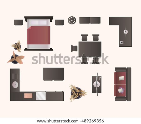 Modern Furniture Isolated On White Background Design Elements Top View Image Realistic Vector Illustration
