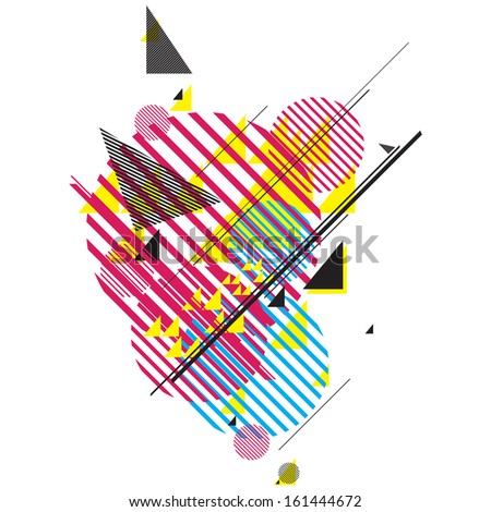 modern futuristic composition of simple geometric shapes - stock vector
