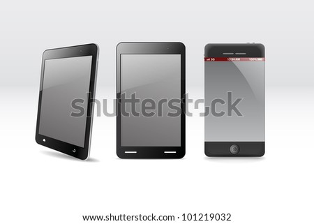 Modern gadgets in a row - stock vector