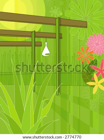 Modern Garden Arbor--Each plant and flower is whole and grouped so you can use them independently from the background. - stock vector