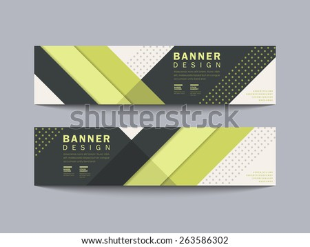 modern geometric banner design with line and spot elements in green - stock vector