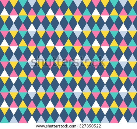 Modern geometric seamless vector pattern. Colorful argyle pattern. Festa junina background. Pastel colored triangle flags ornament. Flat style fabric. - stock vector