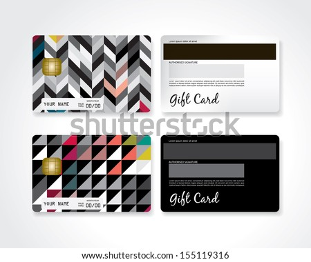 Modern gift card - stock vector