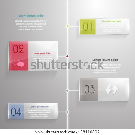 Modern glass timeline design template. Vector eps10.  - stock vector