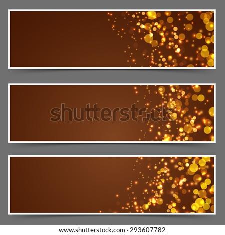 Modern glittering christmas festive banners. Vector illustration - stock vector