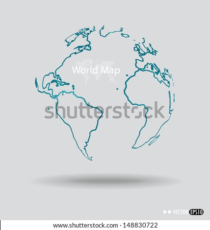 Modern globe drawing concept. Vector illustration. - stock vector