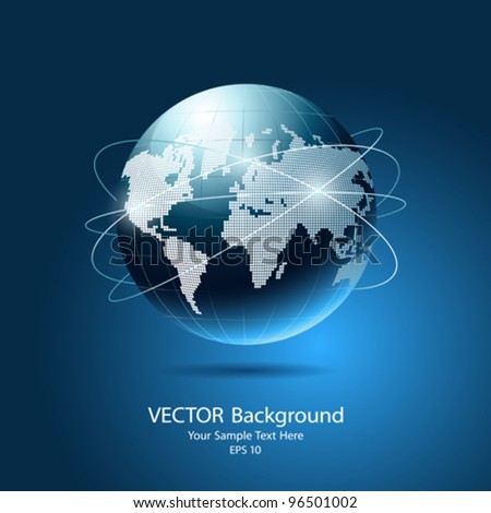 Modern globe network blue background, vector illustration - stock vector