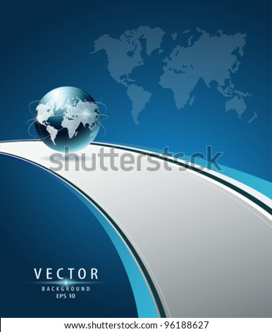 Modern Globe vector (concept road to the glove) illustration - stock vector