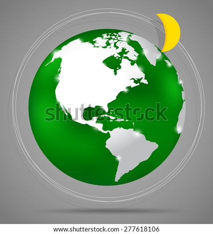 Modern globe, vector illustration.