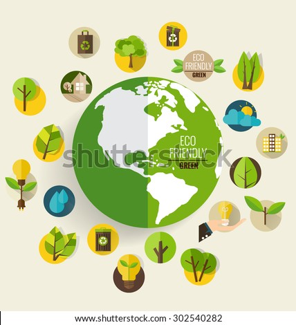 Modern globe with Ecological Icons. Vector illustration.