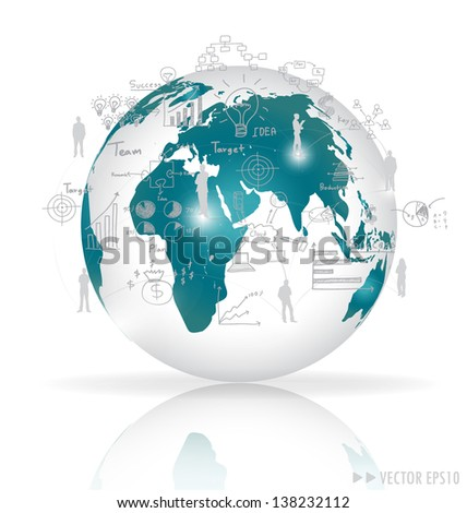 Modern globe with elements of infographics and graph. Vector illustration.