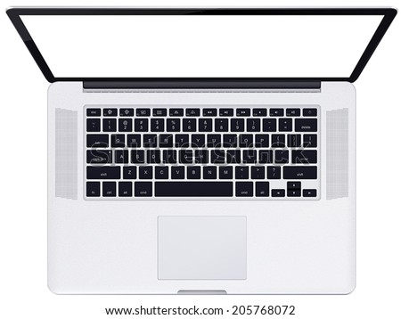 Modern glossy laptop isolated on white background - stock vector