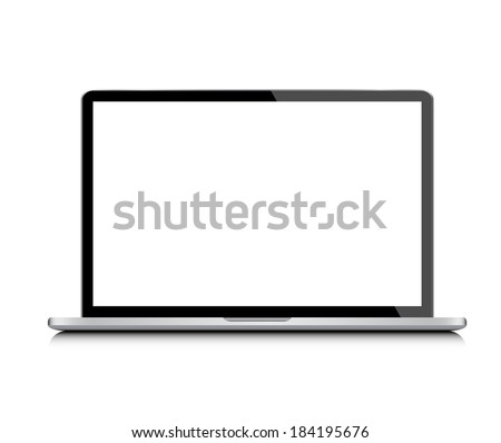 Modern glossy laptop isolated on white vector - stock vector