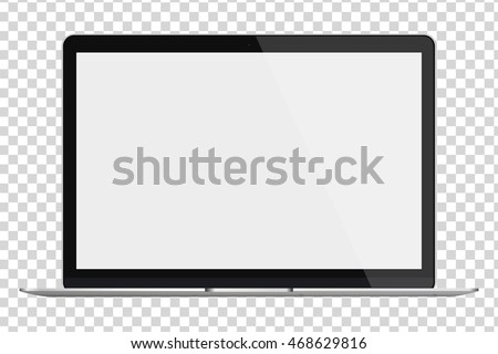 Modern glossy laptop with blank screen isolated on transparent background. Vector illustration. EPS10.