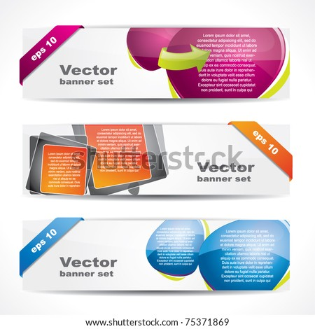 Modern glossy web2 website banner set with speech bubbles - stock vector