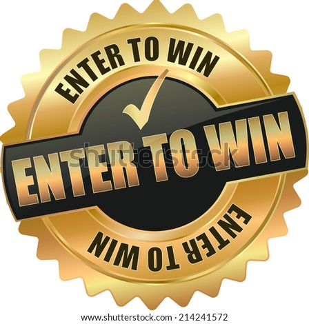 modern gold enter to win vector eps10 badge sign - stock vector