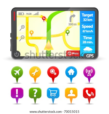 Modern Gps with colorful map pointers - stock vector