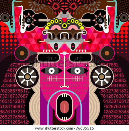 Modern Graphic Art - vector background. Abstract portrait of shouting man. - stock vector