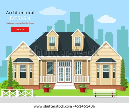 Modern graphic private house with trees, flowers and city skyline. Real estate. Stylish detailed building with yard. Flat style vector illustration. - stock vector
