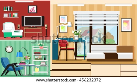 Modern graphic set of stylish rooms furniture. Room interior design. Flat style vector illustration.
