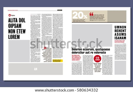 Modern Graphical Design Newspaper Template Stock Vector 580634332