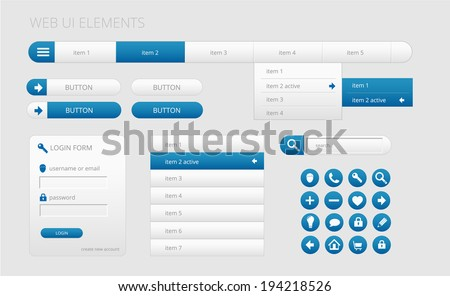 modern gray and blue web ui elements, vector illustration, eps 10 with transparency