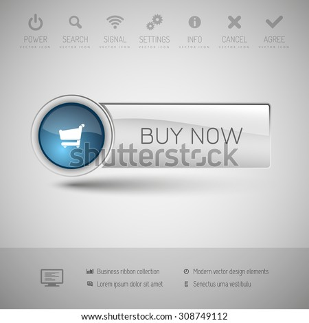 Modern gray button with blue glossy area for icon. - stock vector