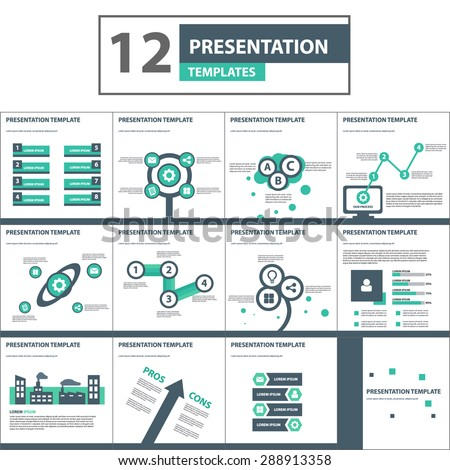 modern green black multipurpose presentation template stock vector, Modern powerpoint