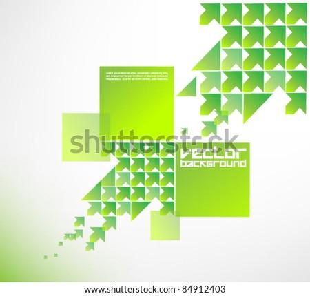 modern green arrow geometric design - stock vector