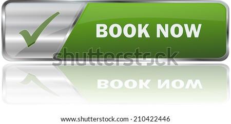 modern green book now sign - stock vector