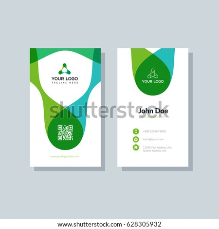 Modern green business card template flat stock vector 628305932 modern green business card template in flat design abstract background personal plain design with wajeb Gallery