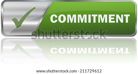 modern green commitment sign - stock vector