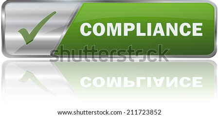 modern green compliance sign - stock vector