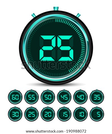 Modern green digital timer - stopwatch vector  - stock vector