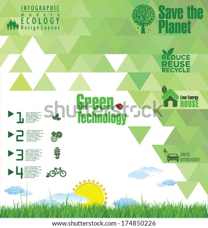 Modern green ecology template - stock vector