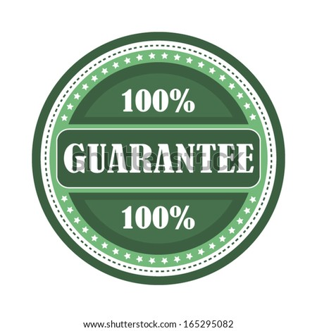 Modern green guarantee 100% badge isolated on white illustration