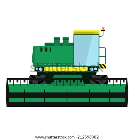 Modern green harvester on a white background - stock vector