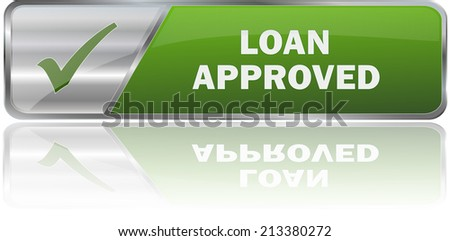 modern green loan approved label sign - stock vector